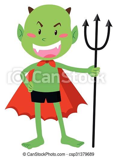悪魔, trident, 緑 - csp31379689
