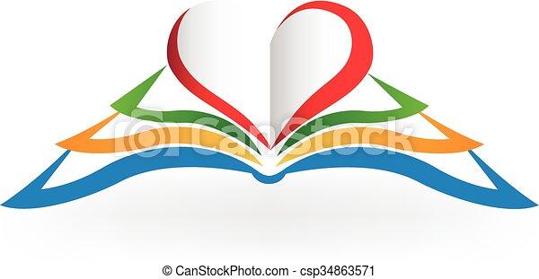 愛, 形, ロゴ, 心, 本 - csp34863571