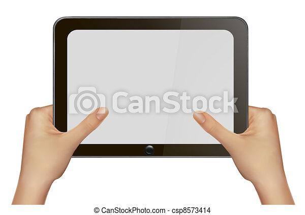 手, pc., 保有物, タブレット, デジタル - csp8573414