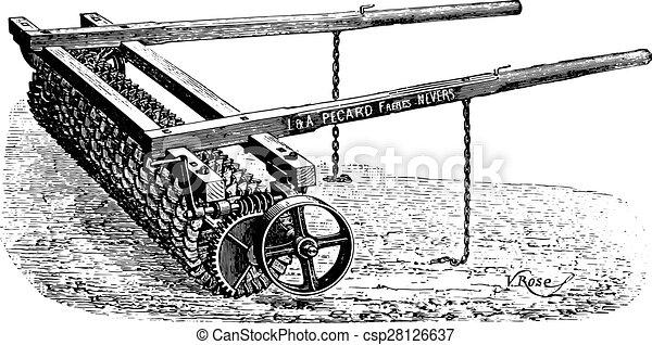 持つ, engraving., pecard, ローラー, crosskill, 型, 歯, 掛かること - csp28126637