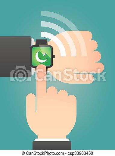 指すこと, 腕時計, 手の 印, 痛みなさい, イスラム教 - csp33983450
