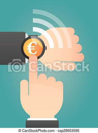 指すこと, 腕時計, 手の 印, 痛みなさい, ユーロ - csp28653595