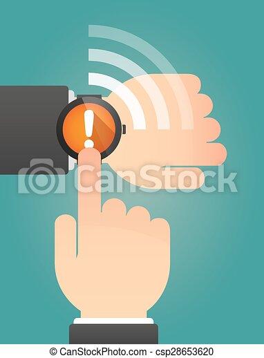指すこと, exclamarion, 腕時計, 印, 手, 痛みなさい - csp28653620