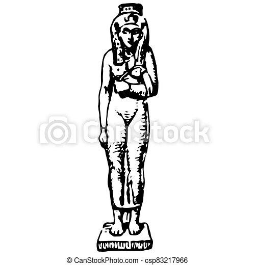 数字, 型, エジプト人, 女, 古代, 彫版 - csp83217966
