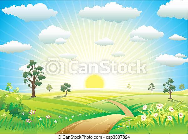 日当たりが良い, 牧草地 - csp3307824