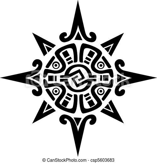 星, 太陽, シンボル, mayan, incan, ∥あるいは∥ - csp5603683