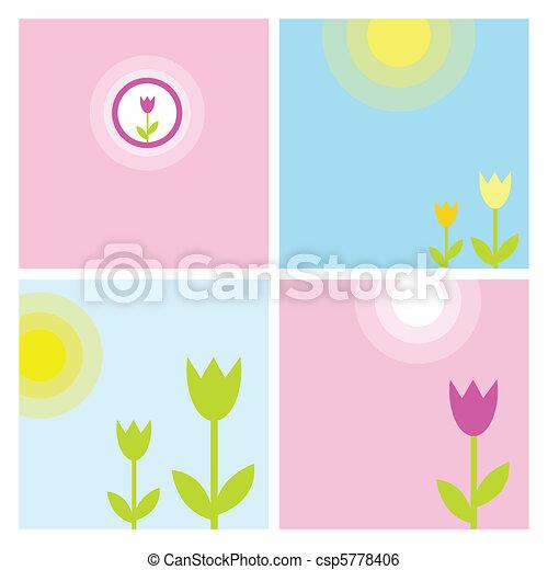 春, セット, 背景 - csp5778406