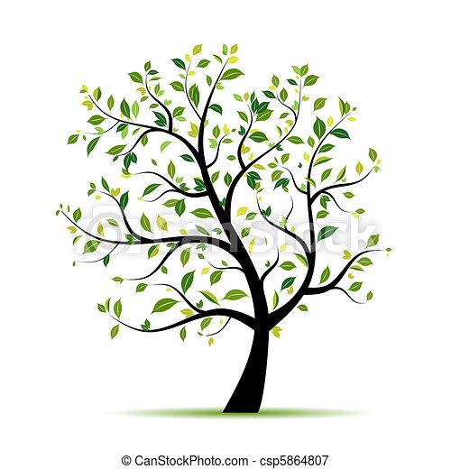 春, デザイン, 木, 緑, あなたの - csp5864807