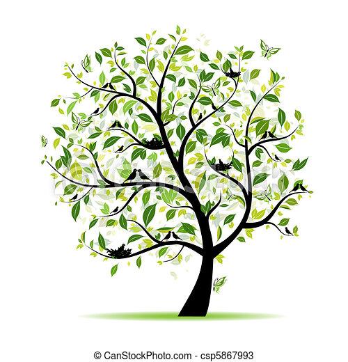 春, 木, あなたの, 緑, デザイン, 鳥 - csp5867993