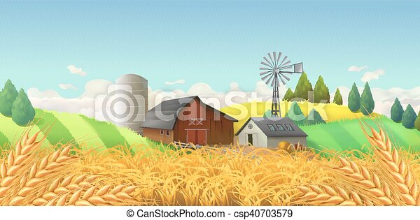 景色。, ベクトル, 小麦, 背景, 農場, field. - csp40703579