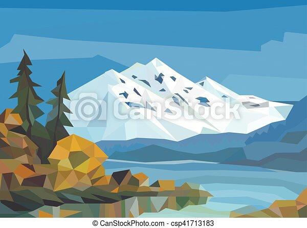 景色。, 多角形, 木。, 湖, 氷, 山 - csp41713183