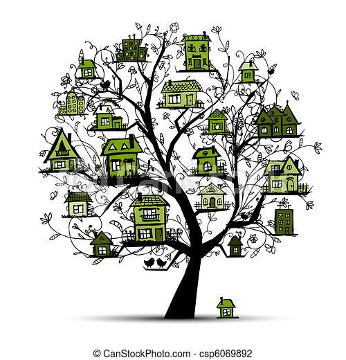 木の枝, 緑, 家 - csp6069892