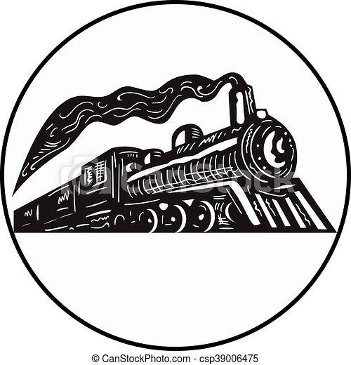 木版, の上, 蒸気の 列車, 到来, 円, 機関車 - csp39006475