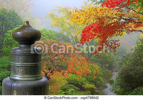 木製の橋, 庭, finial, 日本語 - csp4798642