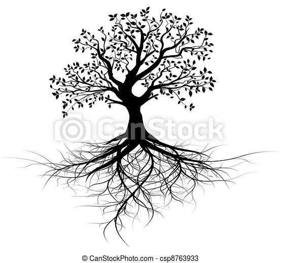 木, ベクトル, そっくりそのまま, 定着する, 黒 - csp8763933