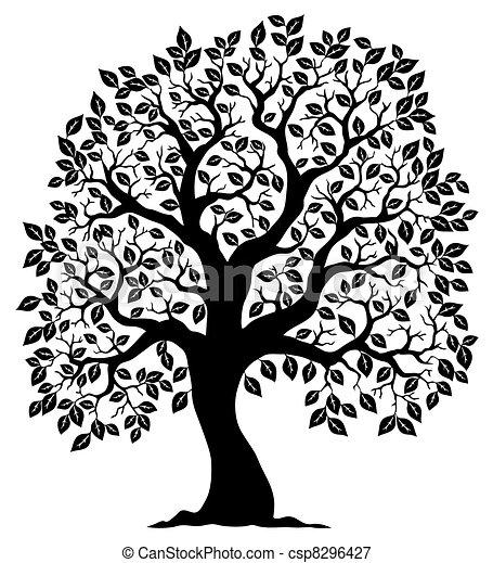 木3, シルエット, 形づくられた - csp8296427
