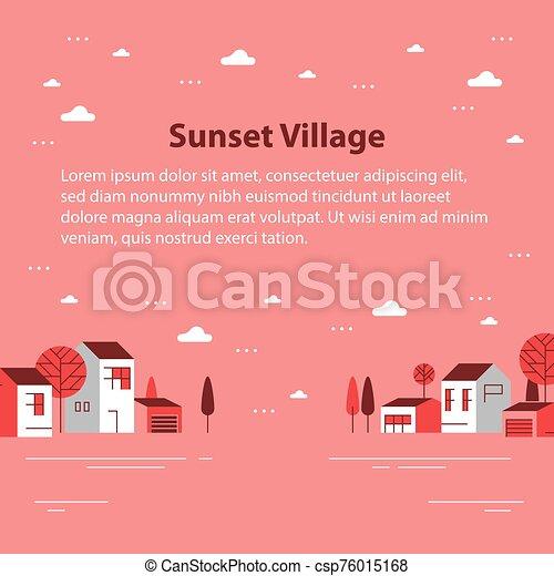 村, 小さい 町, 光景, 秋, ごく小さい, 住宅の, 季節, 美しい, 近所, 家, 横列 - csp76015168