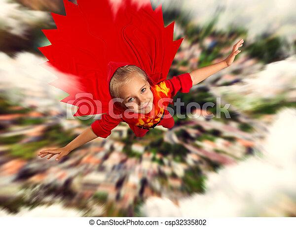 極度, 女の子, 飛行, 英雄 - csp32335802