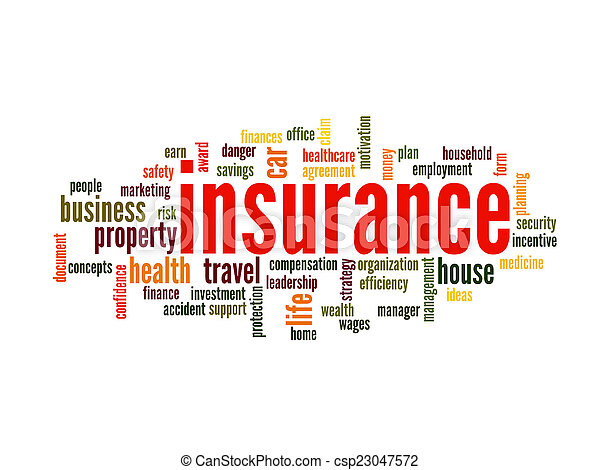 概念, 単語, 保険, 雲 - csp23047572