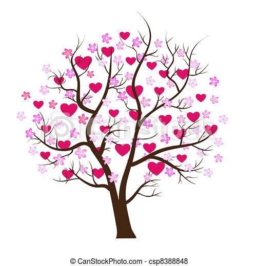 概念, 愛, 木, バレンタイン, ベクトル, 日 - csp8388848