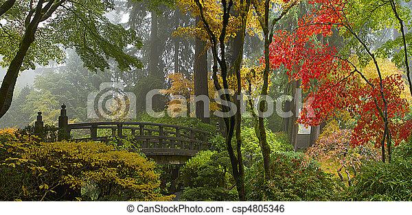 橋, 庭, 木製である, パノラマ, 日本語, 秋 - csp4805346