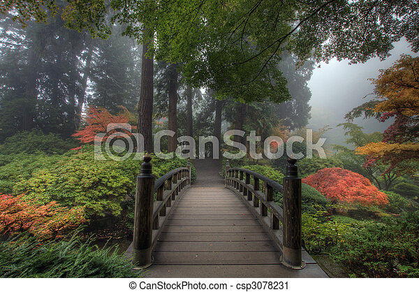 橋, 日本の庭 - csp3078231