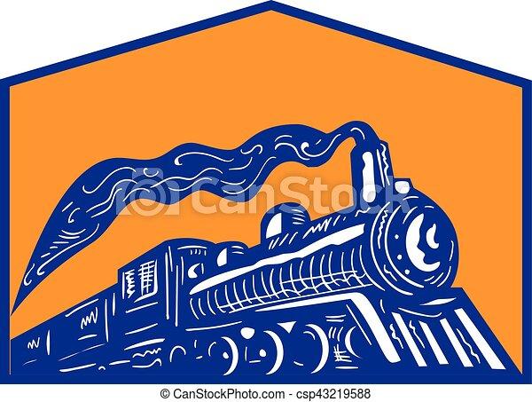 機関車, 列車, レトロ, 到来, 頂上, 蒸気 - csp43219588