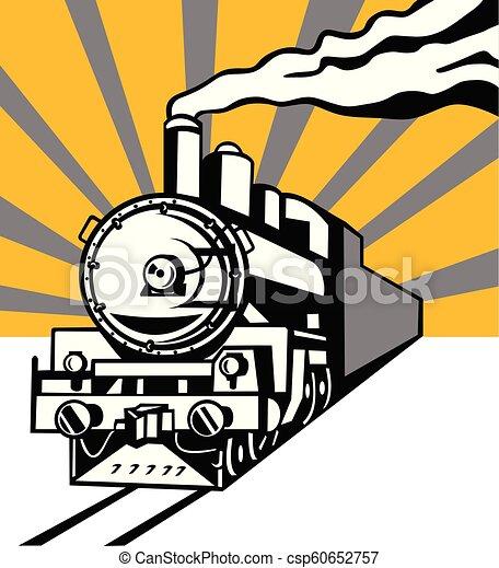 機関車, 列車, sunburst, レトロ, 蒸気 - csp60652757