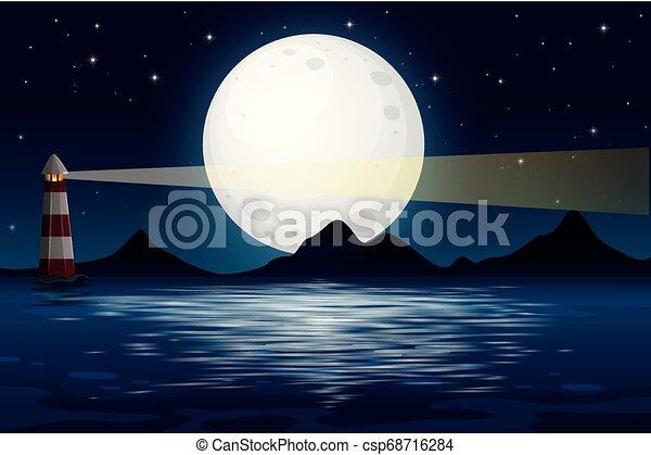 海洋眺め, 夜 - csp68716284