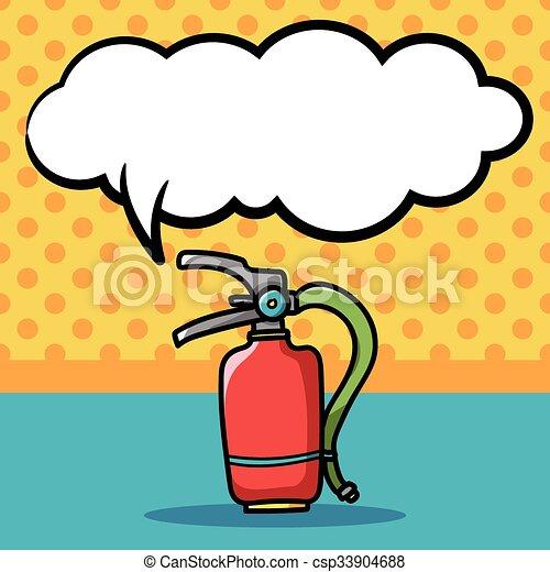 消火器, いたずら書き, 色, 火 - csp33904688