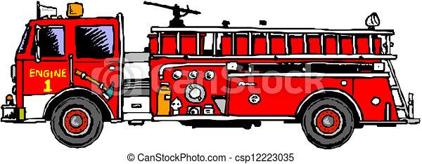 消防車, はしご - csp12223035