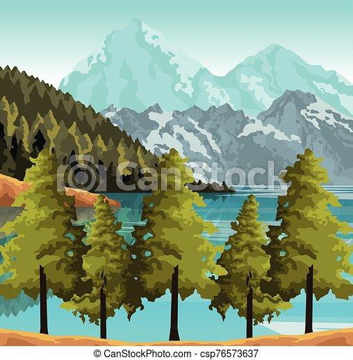 湖, カラフルである, デザイン, 山, 風景, 木, 美しい - csp76573637