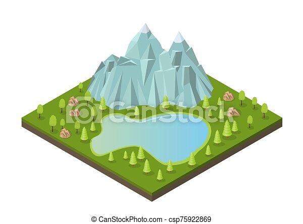 湖, 等大, 木。, 山 - csp75922869