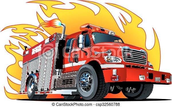 漫画, トラック, ベクトル, 火 - csp32560788