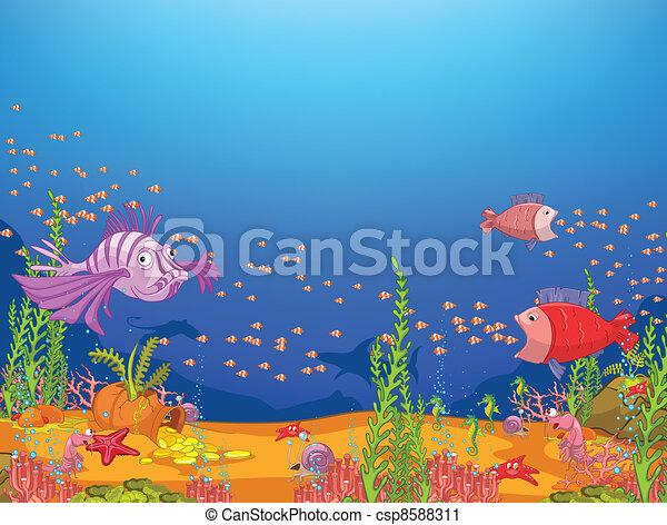 漫画, 海洋 - csp8588311