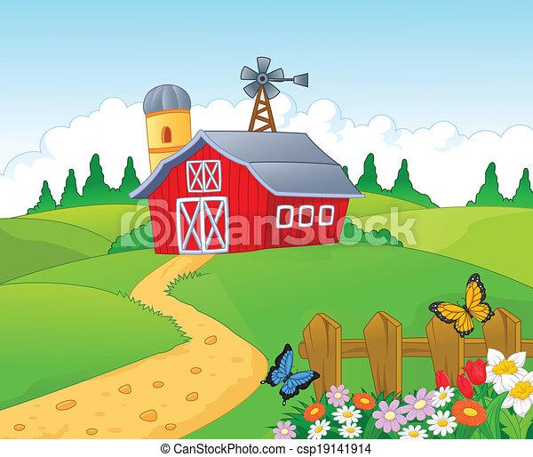 漫画, 背景, 農場 - csp19141914