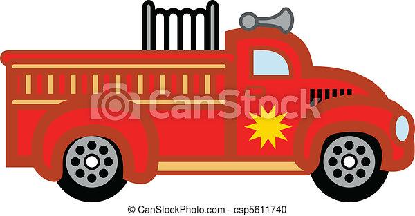 火, おもちゃ, engine., firetruck, 子供 - csp5611740