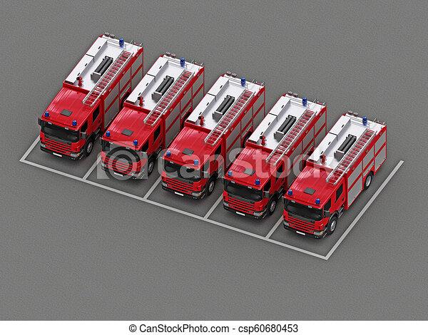 火, グループ, トラック, 駐車 - csp60680453