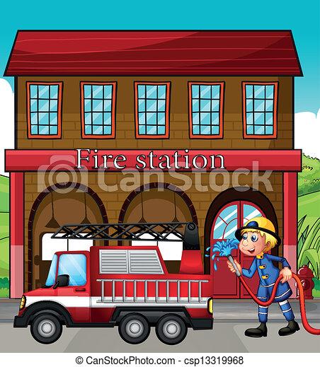 火, 前部, 駅, トラック, 消防士 - csp13319968