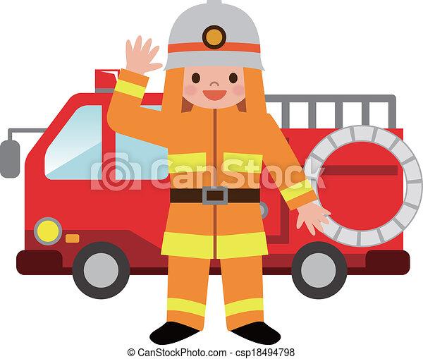 火, 消防士, トラック, childre - csp18494798