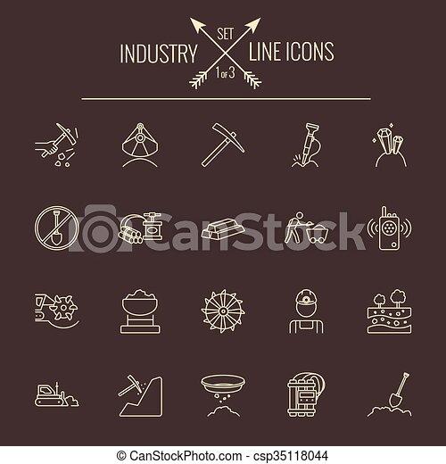 産業, set., アイコン - csp35118044