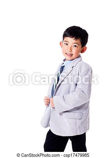 男の子, 得意である, スーツ - csp17479985