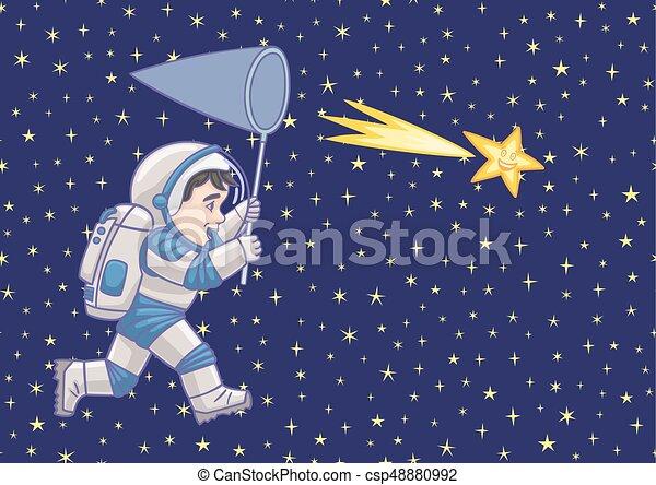 男の子, 捕獲物, star., 宇宙飛行士, 落ちる - csp48880992