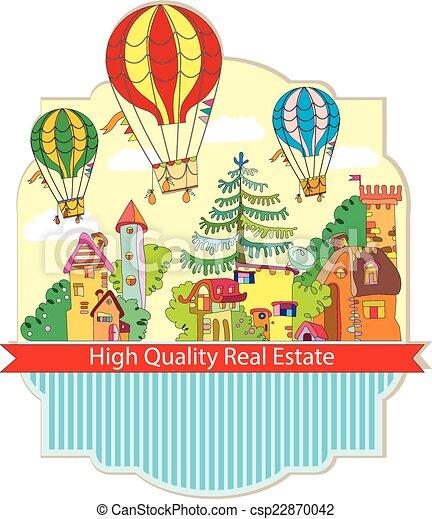 町, 都市, balloon, 空気, 暑い, カード - csp22870042