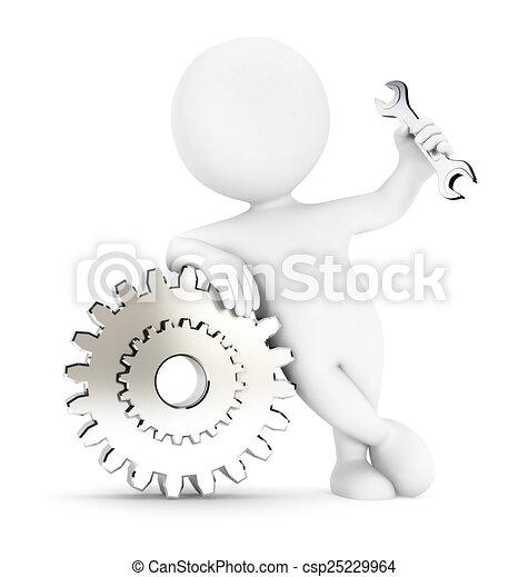 白, 3d, ギヤ, 人々 - csp25229964