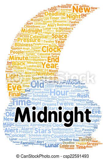 真夜中, 形, 単語, 雲 - csp22591493