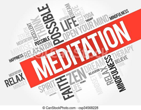瞑想, 単語, 雲 - csp34568228