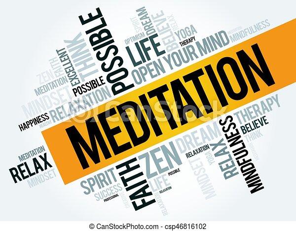 瞑想, 単語, 雲 - csp46816102