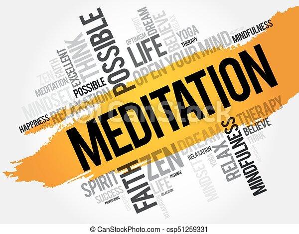 瞑想, 単語, 雲 - csp51259331