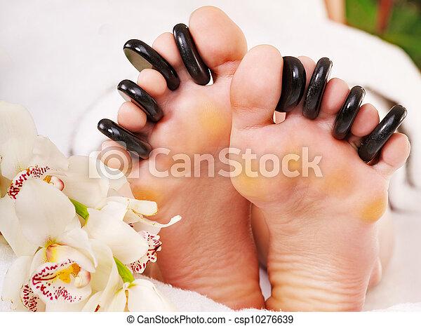 石, 女, 受け取ること, マッサージ, feet. - csp10276639